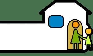 dibujo de niño entrando al colegio