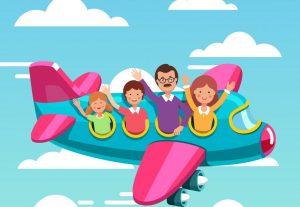 familia en un avión viajar