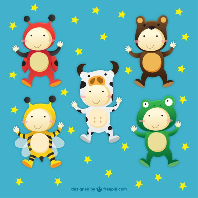 niños disfrazados animalitos carnaval