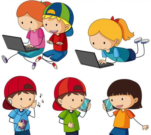 dibujo de niños hablando por teléfono y usando ordenador para hablar de clan emite videos para proteger a niños de ciberacoso y riesgos de internet