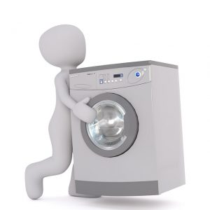 dibujo de hombre llevando una lavadora electrodomestics