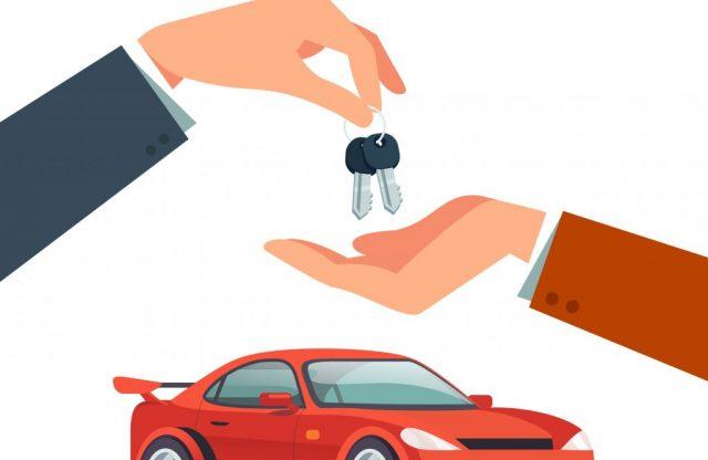 dibujo de una mano dando llaves a otra con un coche de fondo para hablar de consejos para comprar un coche de segunda mano