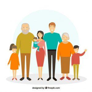 dibujo de una familia numerosa